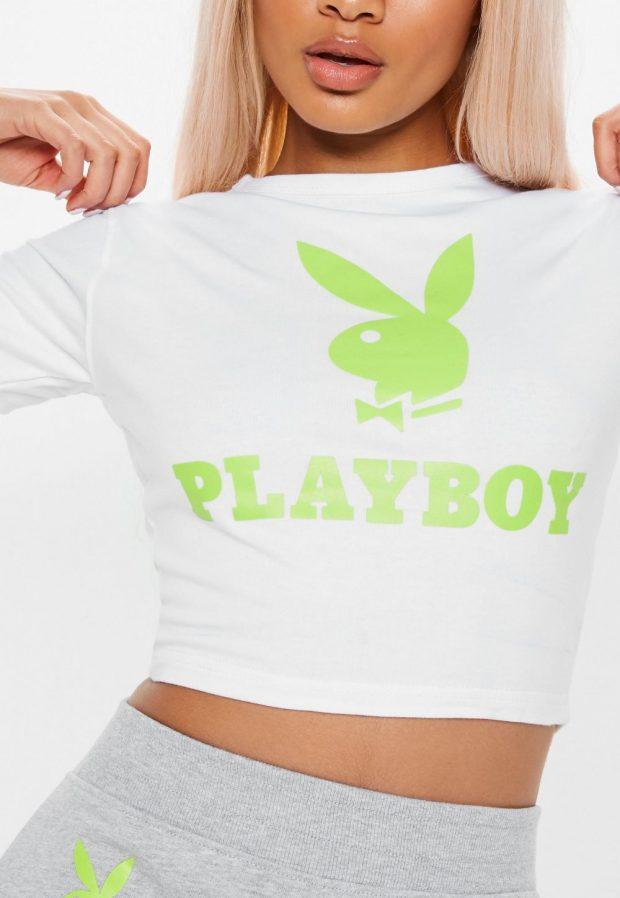 Модные футболки весна-лето 2019: надпись playboy