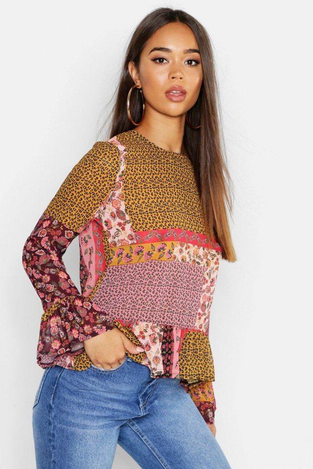 Блузки осень зима 2019-2020: разноцветная с цветами