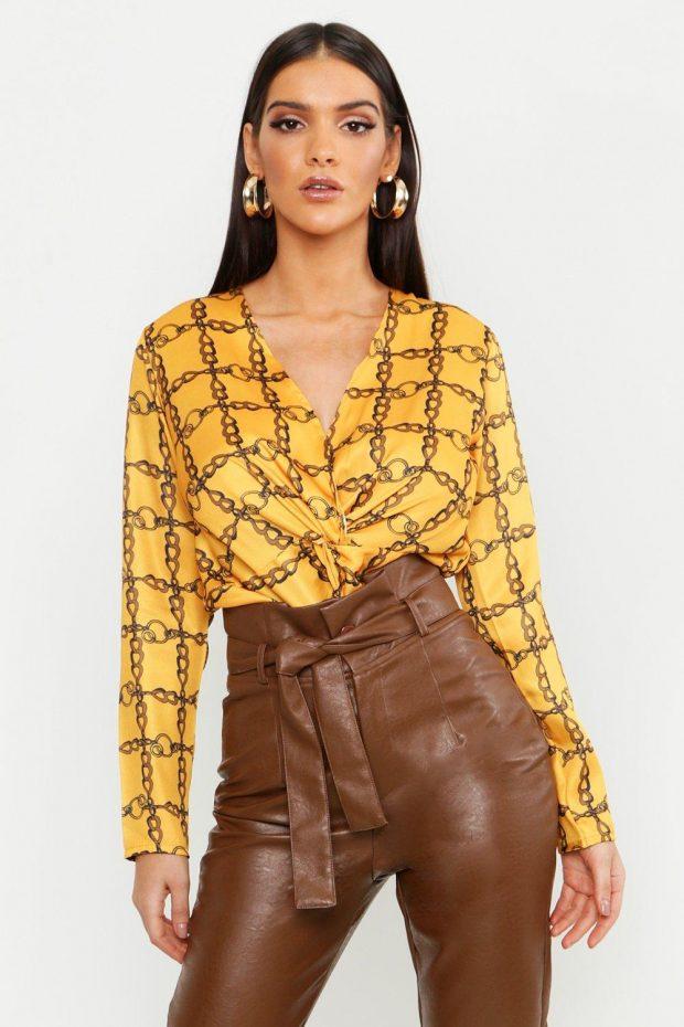 желтая блузка с рисунком с длинным рукавом
