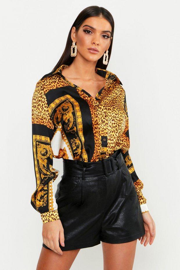 золотистая блузка с длинным рукавом
