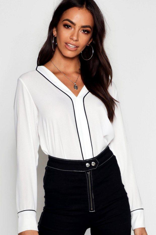 белая блузка с длинным рукавом черная полоса