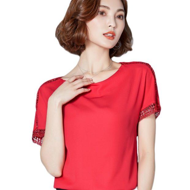 блузки осень зима 2018 красная с коротким рукавом