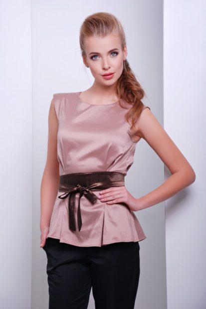 блузки осень-зима: под черный пояс без рукава