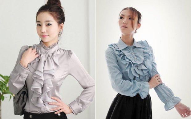 блузки осень-зима: с воланами длинный рукав