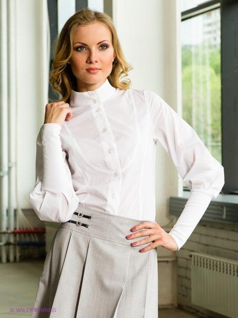 блузки осень-зима: белая с воротником