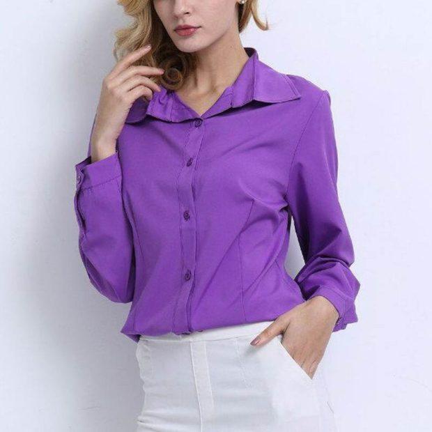 блузки осень-зима: фиолетовая с воротом