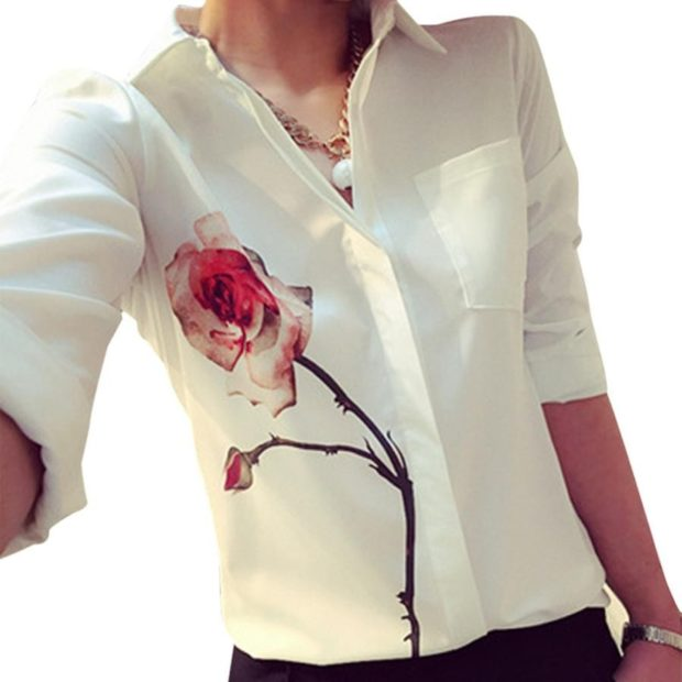 блузки осень зима 2018 с воротом белая