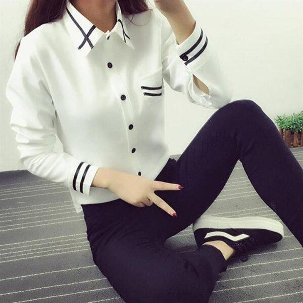блузки осень-зима: белая с воротом