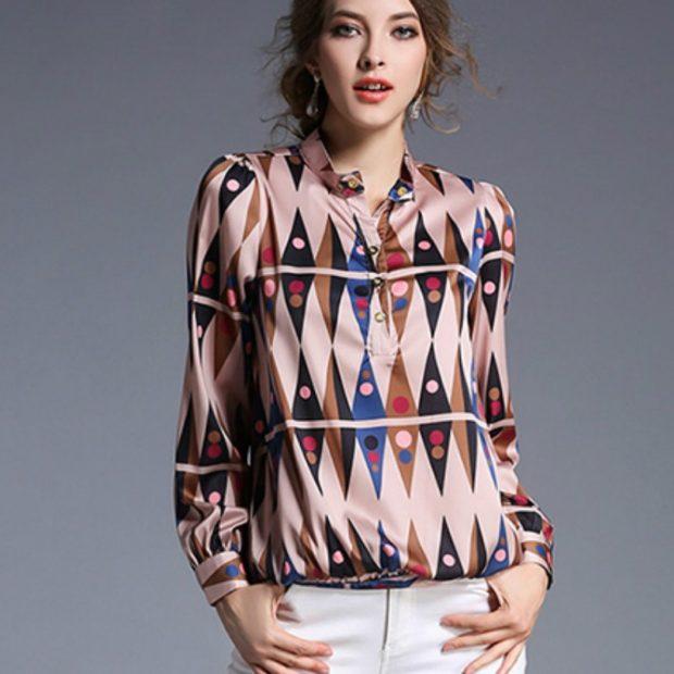 блузки осень зима 2018 с длинным рукавом орнамент