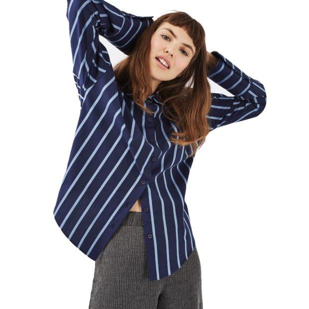 блузки осень зима 2018 блузка с рукавом в полоску