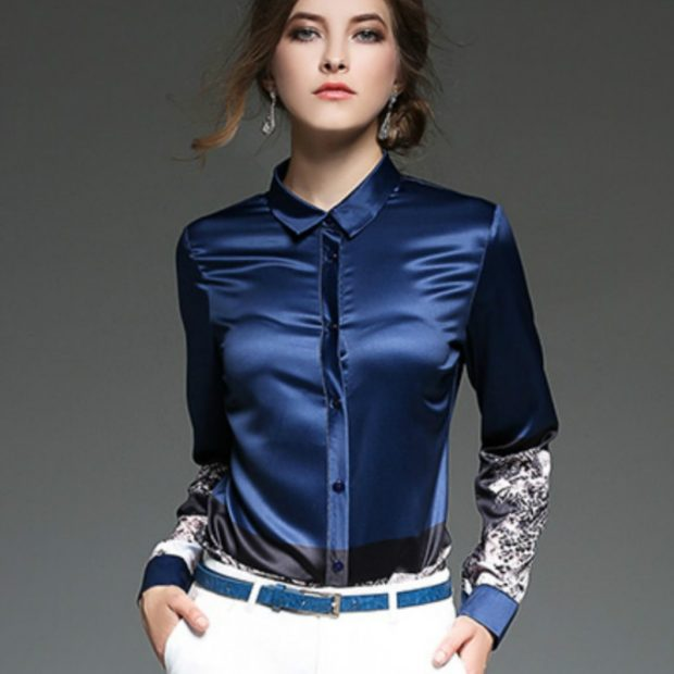 блузка осень зима 2018 с рукавом атлас