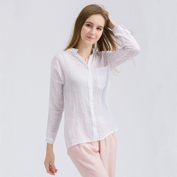 блузки осень зима 2019-2020: белая с длинным рукавом