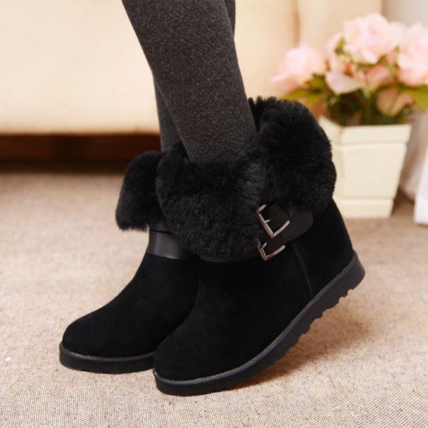 ботинки осень-зима 2018-2019 черные с мехом