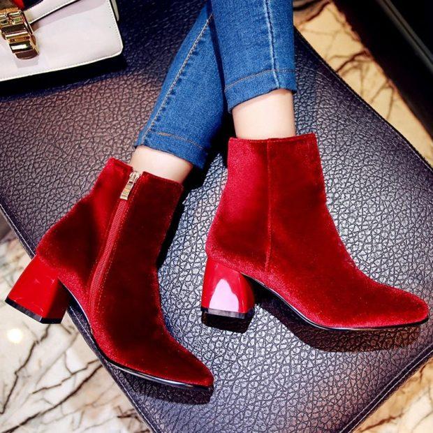 красные ботинки осень-зима 2018-2019 на каблуке