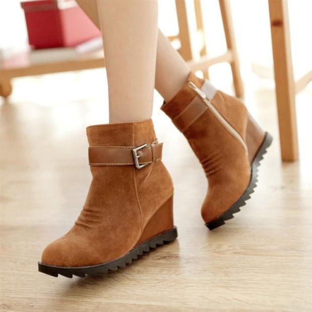 модные ботинки коричневые нубук