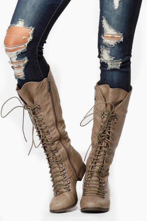 модные ботинки на шнуровке длинные