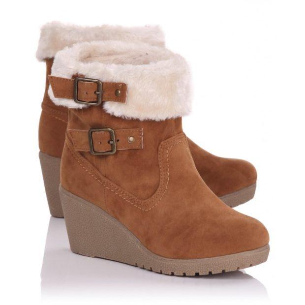 модные ботинки осень зима 2018 2019 коричневые на танкетке