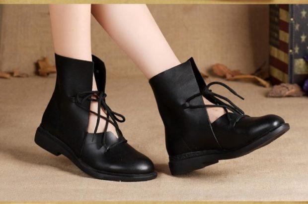 модные ботинки низкий ход черные
