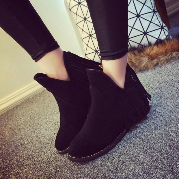модные ботинки черные повседневные