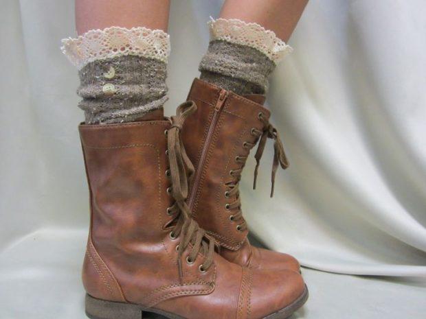 ботинки осень-зима 2018-2019 коричневые с носками