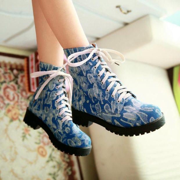 ботинки осень зима 2018 2019 на шнурке синие
