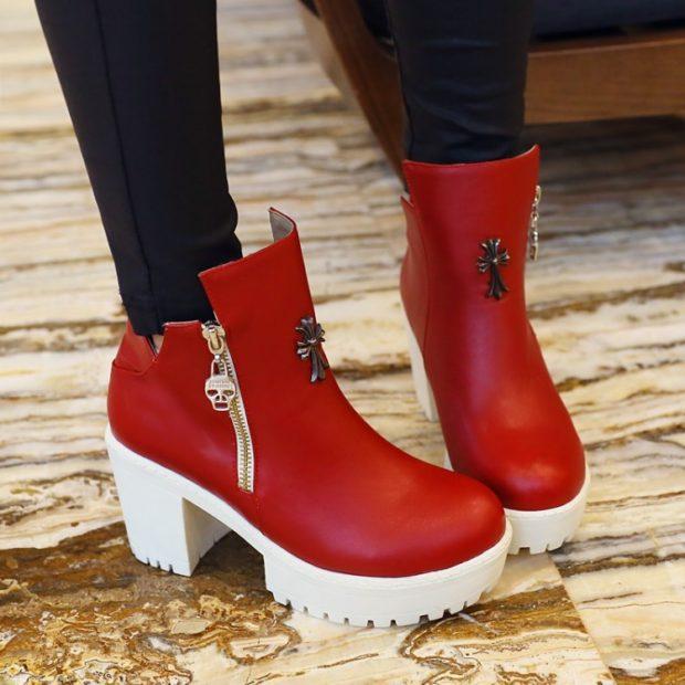 ботинки осень-зима 2018-2019 красные белая подошва