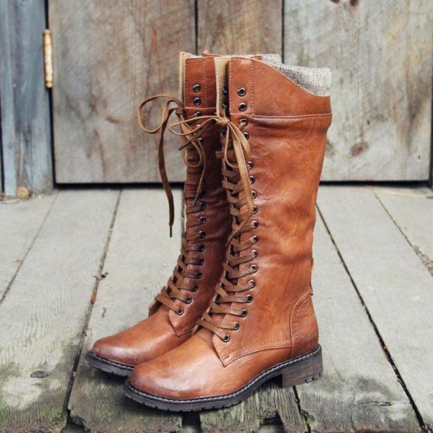 ботинки осень зима 2018 2019 на шнуровке коричневые