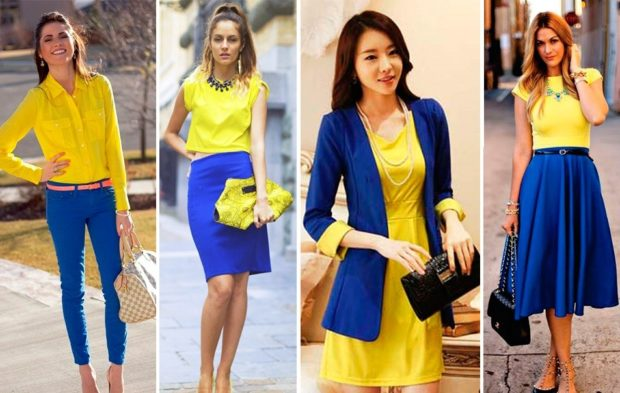 с чем сочетается синий цвет под желтую блузку платье футболку
