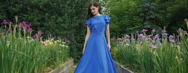 с чем сочетается синий цвет: вечернее платье лазурного цвета