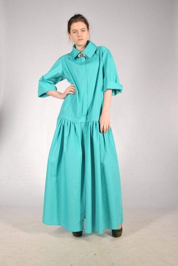 с чем сочетается синий цвет: платье в пол цвет циан