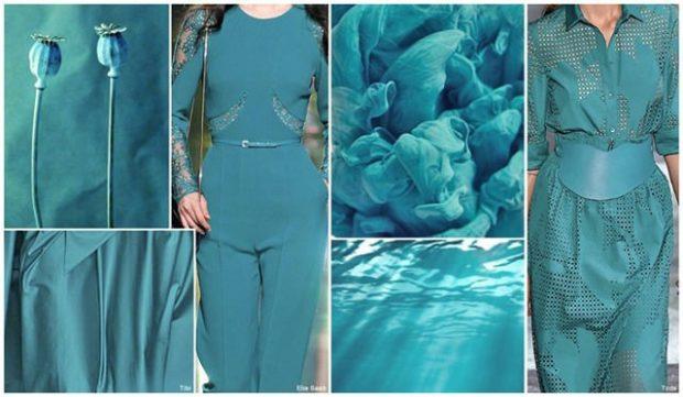 с чем сочетается синий цвет: одежда цвет циан