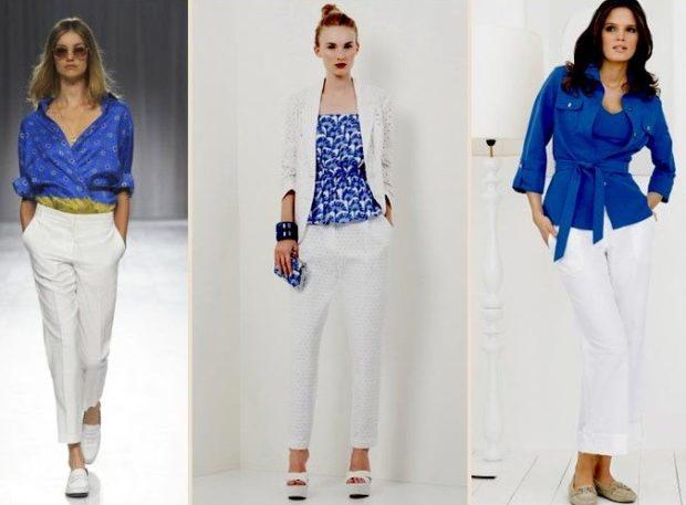 с чем сочетается синий цвет с белым с брюками с костюмом с брюками