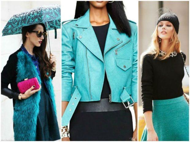 с чем носить синий цвет с черной кофтой юбкой кофтой и шапкой