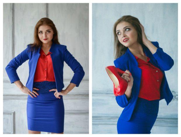 с чем сочетается синий цвет с красной блузкой