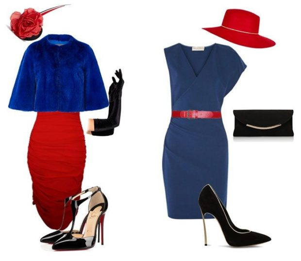 с чем сочетается синий цвет с красной юбкой аксессуарами