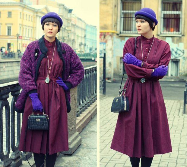 с чем носить синий цвет с фиолетовым платьем и жакетом