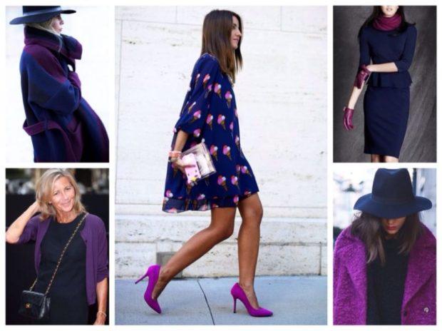 с чем носить синий цвет с фиолетовым пальто туфлями жакетом