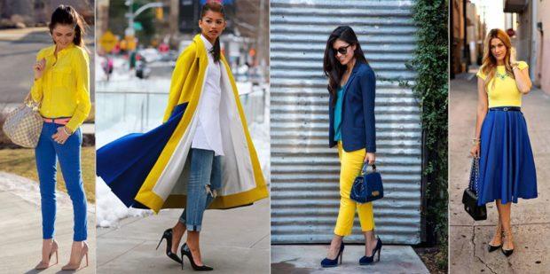 с чем сочетается синий цвет с желтой блузкой пальто бриджами блузкой