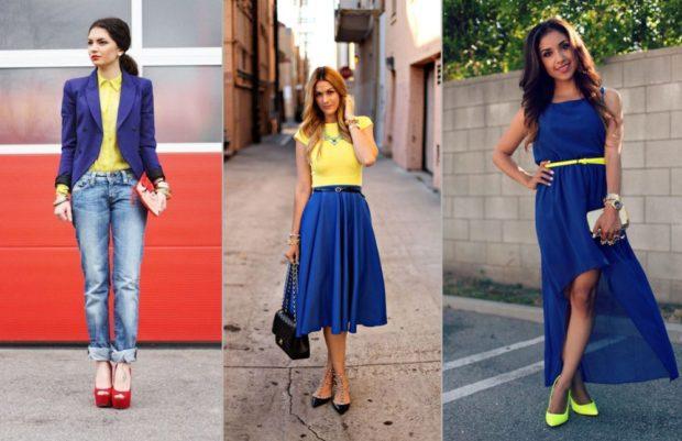 с чем сочетается синий цвет с желтой блузкой с туфлями
