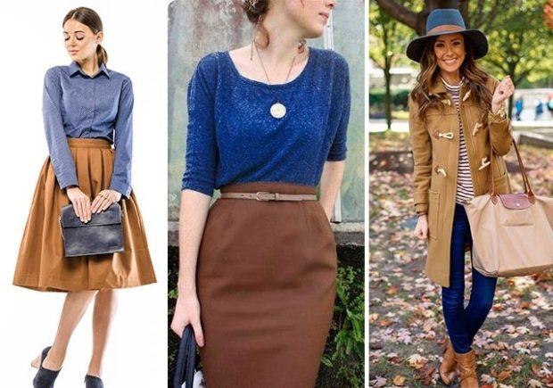 с чем сочетается синий цвет с коричневой юбкой пальто