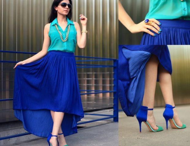 с чем носить синий цвет с зеленой блузкой