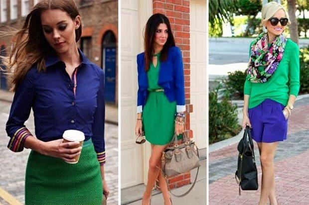 с чем носить синий цвет с зеленой юбкой платьем кофтой