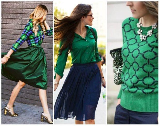 с чем носить синий цвет с зеленой юбкой блузкой кофтой