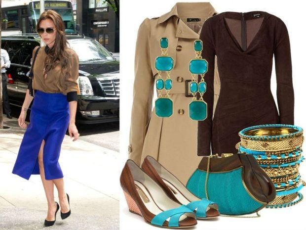 с чем сочетается синий цвет с коричневой блузкой