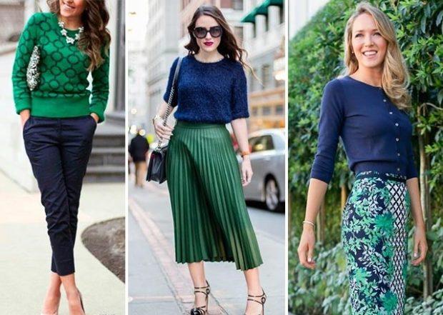с чем носить синий цвет с зеленый свитер юбку
