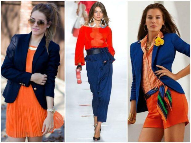 с чем носить синий цвет с оранжевым платьем кофтой шортами