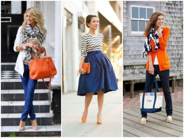 с чем носить синий цвет с оранжевыми аксессуарами жакет