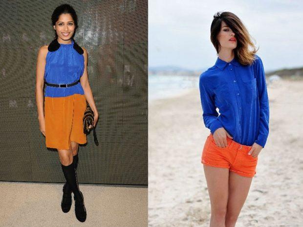 с чем носить синий цвет с оранжевой юбкой шортами
