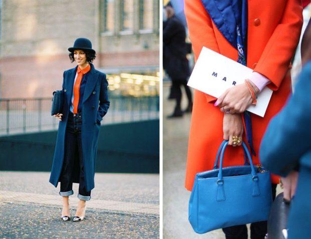 с чем носить синий цвет с оранжевым шарфом пальто