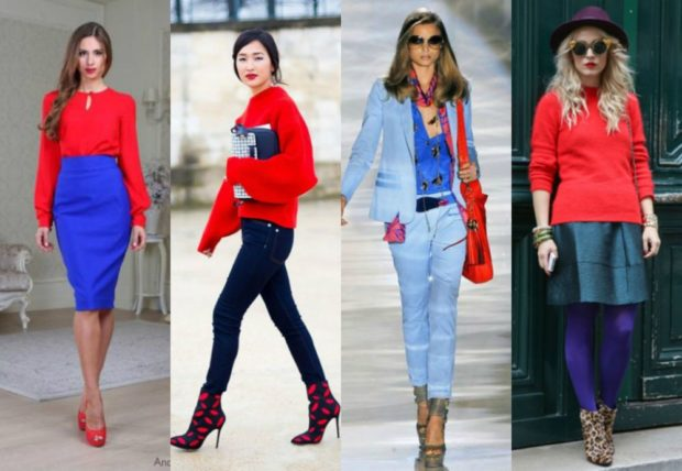 с чем сочетается синий цвет с красной блузкой кофтой сумкой кофтой